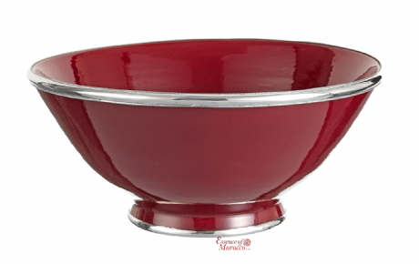 Moroccan Ceramic Bowl Burgundy with Silver Edge Large Handmade 30 cm / 11.8""